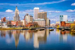 Providence, Rhode Island, USA downtown skyline on the river stock photo