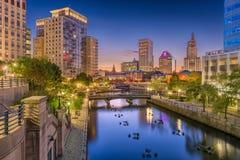 Providence, Rhode Island, USA Skyline. Providence, Rhode Island, USA park and skyline at dusk royalty free stock photography