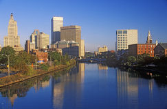 Providence, RI skyline in the morning from the Seekonk River in Autumn Royalty Free Stock Image