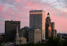 Providence Sunset. Providence, RI skyline at sunset Royalty Free Stock Image