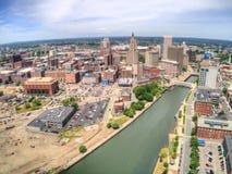 Providencia, Rhode Island vista desde arriba por un abejón aéreo en S imagen de archivo