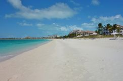 Grace Bay Beach in Providenciales, Turks and Caicos. PROVIDENCIALES, TURKS AND CAICOS -Grace Bay Beach, a landmark azure beach in Provo in the Turks and Caicos Royalty Free Stock Photo
