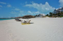 Grace Bay Beach in Providenciales, Turks and Caicos. PROVIDENCIALES, TURKS AND CAICOS -Grace Bay Beach, a landmark azure beach in Provo in the Turks and Caicos Stock Photo