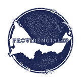 Providenciales vector map. Grunge rubber stamp with the name and map of island, vector illustration. Can be used as insignia, logotype, label, sticker or badge Stock Image