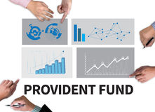 PROVIDENT FUND. Businessman work on white broad, top view Stock Image
