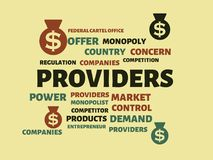 PROVIDERS - image with words associated with the topic MONOPOLY, word cloud, cube, letter, image, illustration Royalty Free Stock Images