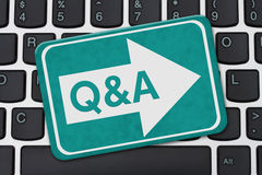 Providing Q&A for your business on the Internet. Providing Q&A for your business on the Internet, A teal sign with text Q&A on a computer keyboard Stock Photography