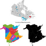 Province of Canada - New Brunswick. Administrative division of Canada. Map of New Brunswick with counties and main cities, vector illustration Stock Images