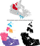 Province of Canada - Northwest Territories. Administrative division of Canada. Map of Northwest Territories with regions and main cities, vector illustration Stock Photo