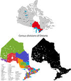 Province of Canada - Ontario. Administrative division of Canada. Map of Ontario with census divisions, vector illustration Stock Image