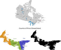 Province of Canada - Prince Edward Island. Administrative division of Canada. Map of Prince Edward Island with regions and main cities, vector illustration Stock Photo