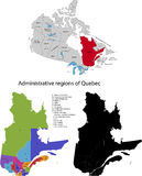 Province of Canada - Quebec. Administrative division of Canada. Map of Quebec with regions and main cities, vector illustration Stock Photos