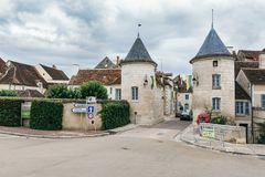 Province of Chablis in Burgundy. Entry to Chablis in France. View of the Porte Noel gate, in Chablis, Burgundy, France July 23, 2017 stock photos
