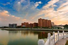 Le coucher du soleil de lac Yandu Photo stock