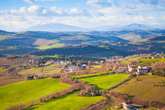 Province of Fermo, Italy. Villages and fields on hills Stock Photography