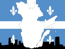 Province of quebec. On their flag with montreal skyline Stock Image