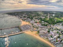 Province Town, Mass seen from above by an Aerial Drone in Summer stock images