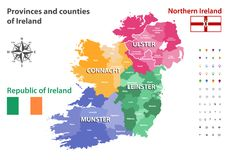 Provinces and counties of Ireland vector map. Provinces and counties of the Ireland island map vector illustration Stock Photo