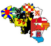 Provinces on map of belgium Royalty Free Stock Image
