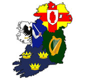 Provinces on map of ireland. Borders and flags of provinces on map of ireland Royalty Free Stock Images