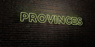PROVINCES -Realistic Neon Sign on Brick Wall background - 3D rendered royalty free stock image Stock Photos
