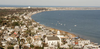 Provincetown Cape Cod. Provincetown, Cape Cod Massachusetts as seen from the Pilgrim Monument tower Royalty Free Stock Photos