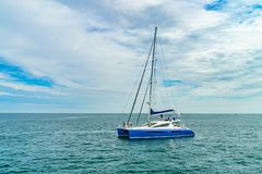 Provincetown, Cape Cod, Massachusetts, US - August 15, 2017 Catamaran and his crew looking for a whale.  Royalty Free Stock Image