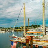 Provincetown Marina and Pilgrim Monument, Provincetown MA US.  royalty free stock image