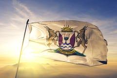 Provincia de Eastern Cape de la tela del paño de la materia textil de la bandera de Suráfrica que agita en la niebla superior de  libre illustration