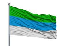 Provincia DE Limon City Vlag op Vlaggestok, Costa Rica, op Witte Achtergrond wordt geïsoleerd die Vector Illustratie