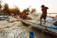 Provincia di Nakhon Si Thammarat da pesca costiera Tailandia Fotografia Stock Libera da Diritti
