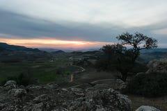 Provincia Ifrane del paesaggio al tramonto, Marocco Immagine Stock Libera da Diritti