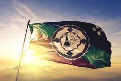 Provincia orientale di New Britain del tessuto del panno del tessuto della bandiera della Papuasia Nuova Guinea che ondeggia sull illustrazione vettoriale