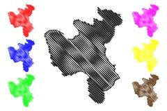 Provincia repubblica democratica popolare della Corea, DPRK, DPR Corea, province di North Hwanghae dell'illustrazione di vettore  royalty illustrazione gratis