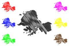 Provincia repubblica democratica popolare della Corea, DPRK, DPR Corea, province di South Hwanghae dell'illustrazione di vettore  royalty illustrazione gratis