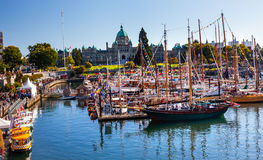 Provincial Capital Legislative Buildiing Wooden Boats Inner Harb Royalty Free Stock Photos