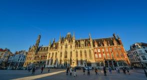 Provincial Court and Historium Bruges buildings stock photo