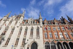Provincial Court and Post Office buildings in Bruges Stock Images