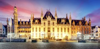 Provincial Court  - Provinciaal Hof, market place in Bruges, Bel Royalty Free Stock Photography