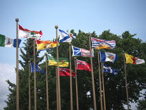 Provincial Flags Of Canada. Blowing in the wind Royalty Free Stock Photos