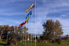 Provincial Provincial flags of Canada, Swan River, Manitoba stock image