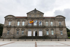 Provincial Government of Pontevedra, Spain. Facade of the Provincial Government of Pontevedra (Deputación Provincial) in Galicia, Spain, with the Spanish Royalty Free Stock Photo