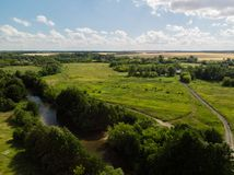 Provincial landscape with river in middle strip of Russia. Provincial landscape with a river in the middle strip of Russia stock image