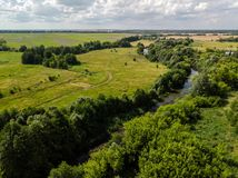 Provincial landscape with river in middle strip of Russia. Provincial landscape with a river in the middle strip of Russia royalty free stock photos