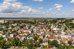 Provincial landscape seen from the top. Ilza, Poland - August 02, 2016: Provincial landscape as seen from above and from windmills in the background royalty free stock image