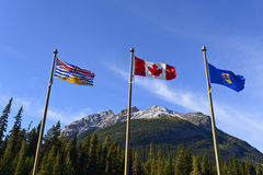 Provincial and national flags at the provincial bo Stock Images
