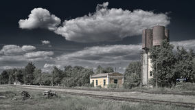 Provincial railroad station under summer clouds Royalty Free Stock Photography