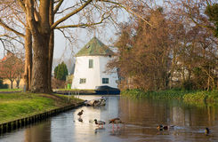 Provincial spring-winter-autumn Dutch landscape with ice-covered canal, blue boat, white house and feeding ducks. Scenic View of small Dutch village in Warm Royalty Free Stock Photo
