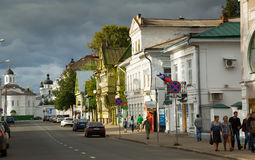 Provinciale Russische cityscape van Kostroma, Rusland Stock Afbeelding