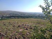 Provinciale stad in de steppe royalty-vrije stock afbeeldingen